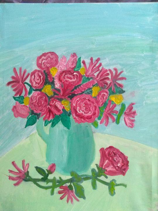 Pink blooms in blue jug - Art creations