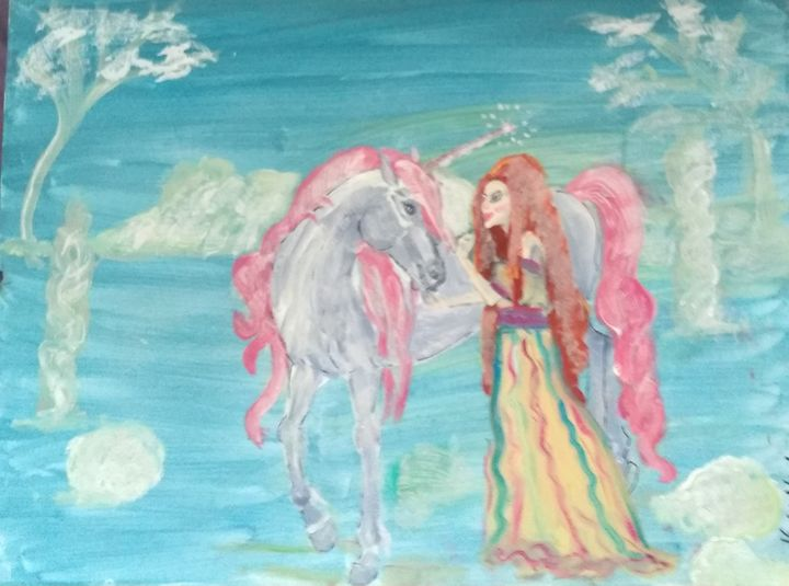 Unicorn and maiden - Art creations