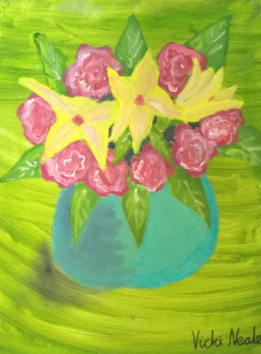 Pink roses and yellow lillies - Art creations