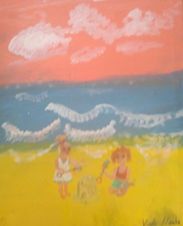Kids at play on beach - Art creations