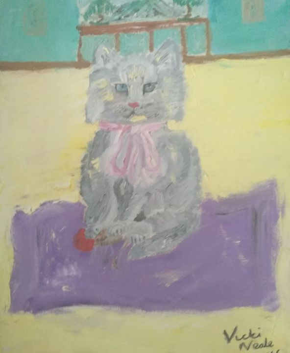 Cat with pink bow - Art creations