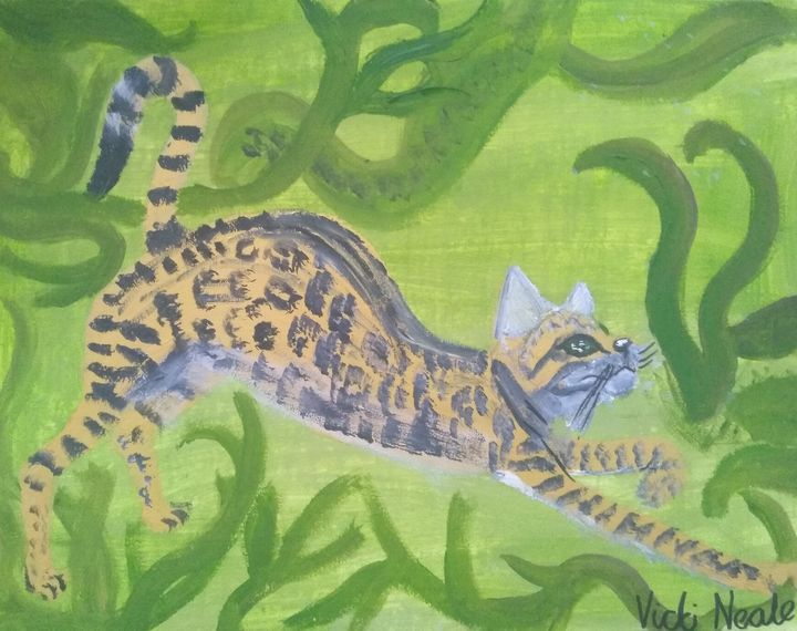 Stretching Bengal cat - Art creations