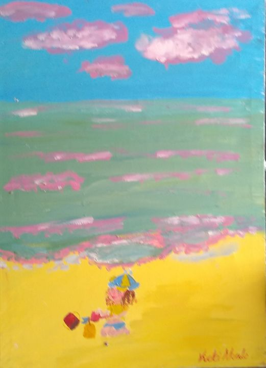 Boy on beach at play - Art creations