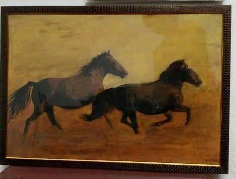 Twin horses _ Acrylic - Panchajanyam