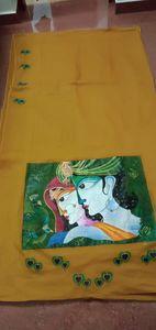 Hand painting on Saree