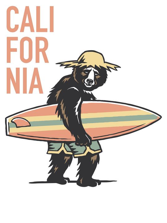 Californian bear riding the wave - Coletivo Box Lab