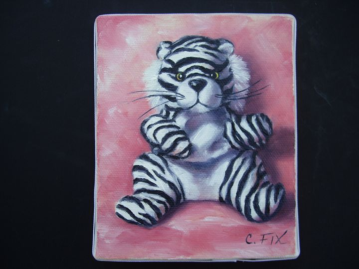 White tiger on pink background - claire fix fine art