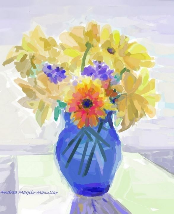 Blue Glass and Flowers2 - Andrea Maglio-Macullar