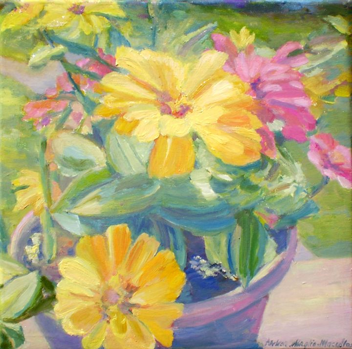 Potted Zinnias - Andrea Maglio-Macullar