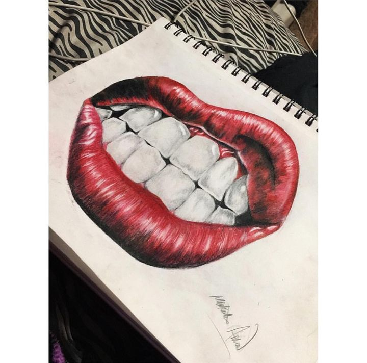 Colored lips drawing - Makaelee's Art