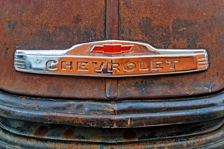 Rustic Chevy Truck Hood Emblem - The Back Roads Photographer