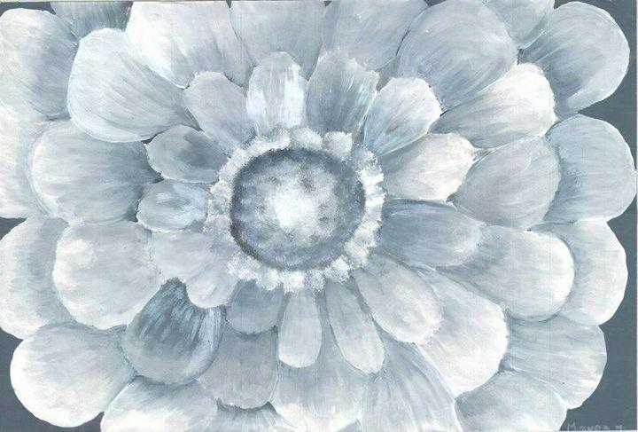 Grey Monochromatic Flower - Miranda's Veranda