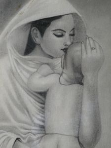 Mother and Child (Charcoal Painting)