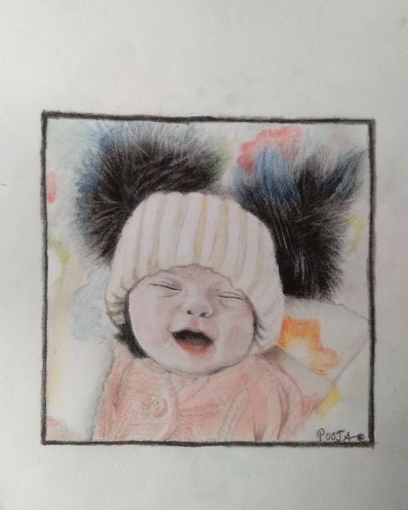 colour charcoal painting - pooja sagar arts