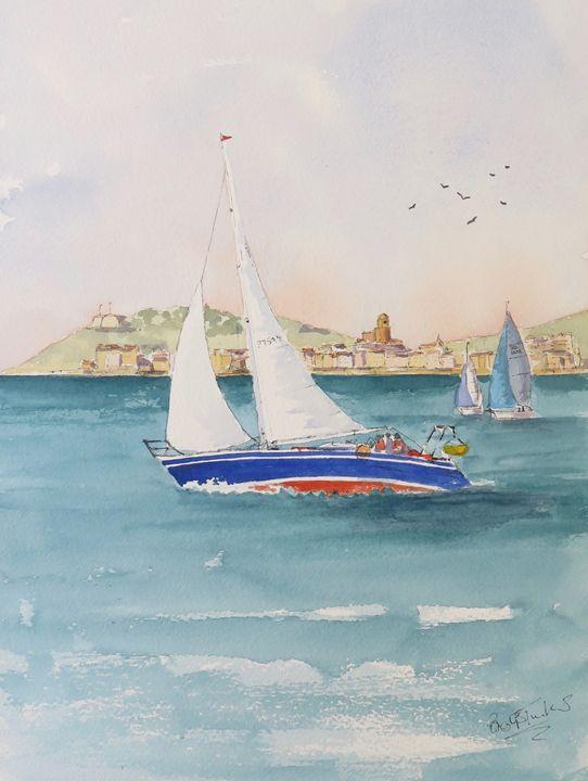 Sailing off St Tropez - BriansWatercolours