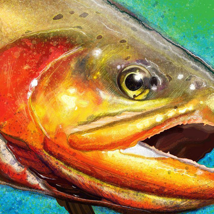 Golden Trout Head - FishWearDesigns