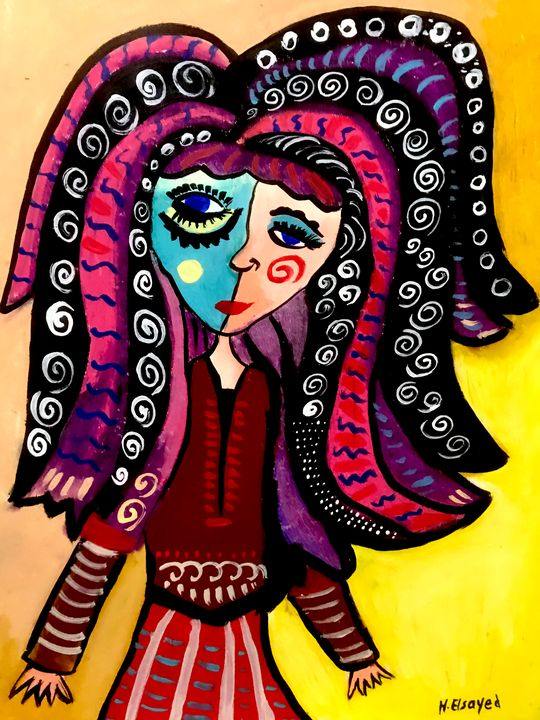 Woman with wild and swirly hair - homayra elsayed