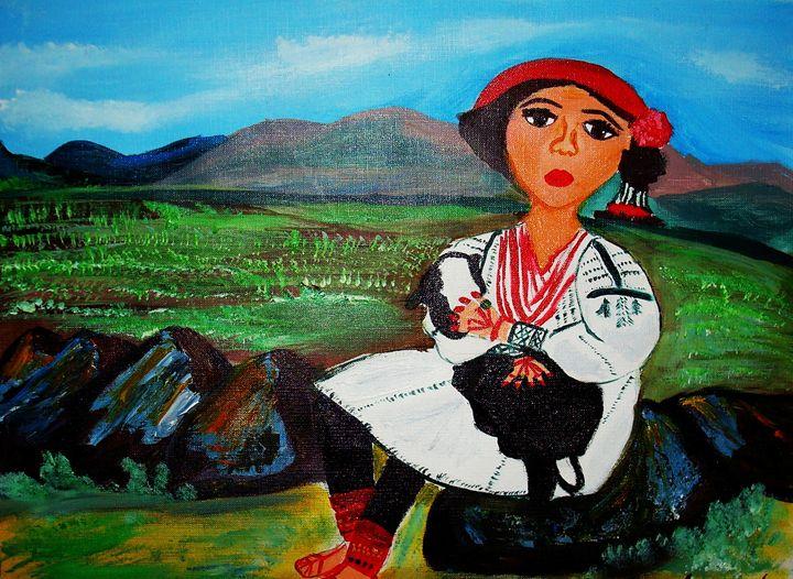 Afghan Girl in Noristani dress - AfghanArtist