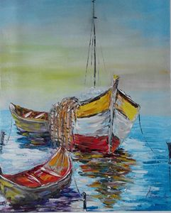 SOLD   ''Boats in the sea''
