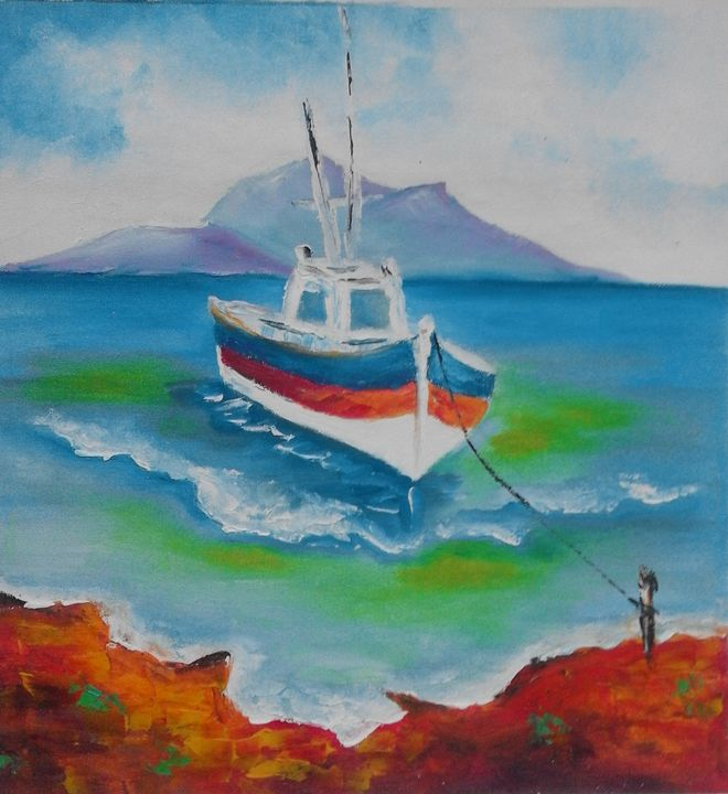 SOLD ''Boat in the sea 2'' - AsiArt