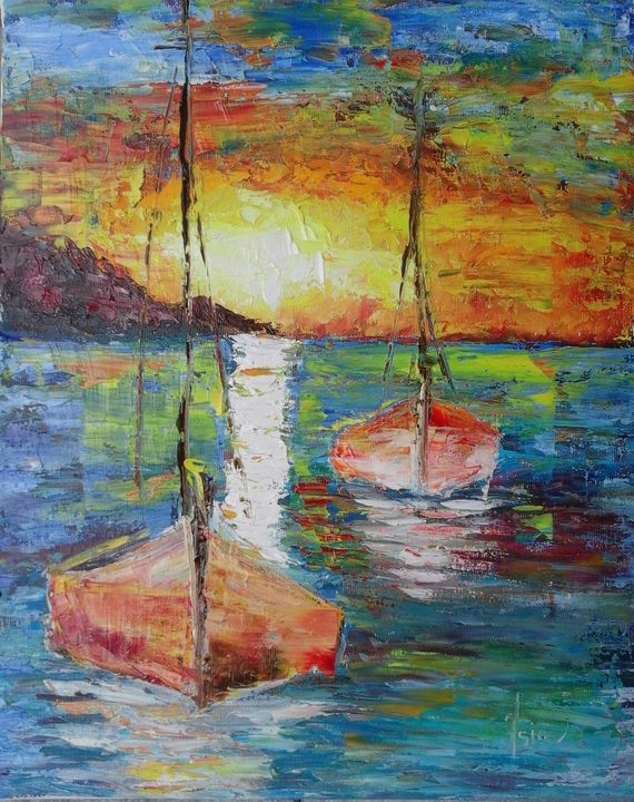 SOLD  ''Boats at sunset'' - AsiArt