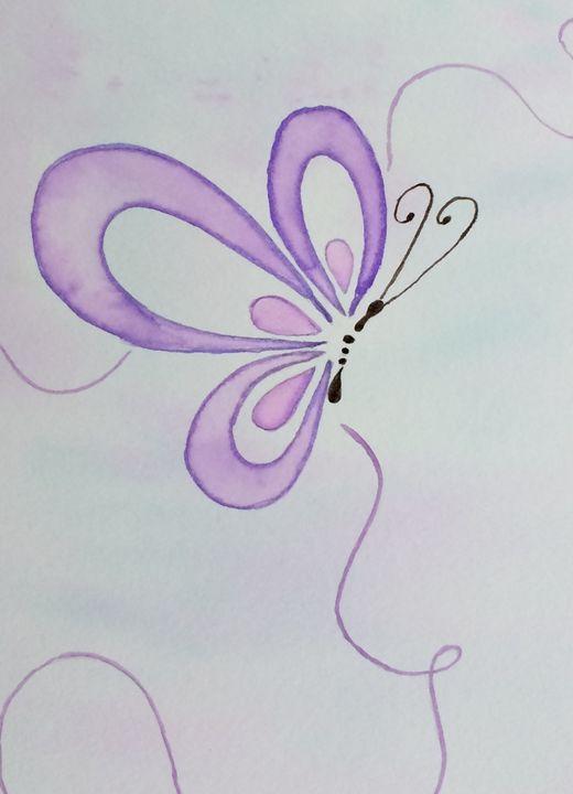 Purple butterfly by Katie Jardas - Katie Jardas Watercolors
