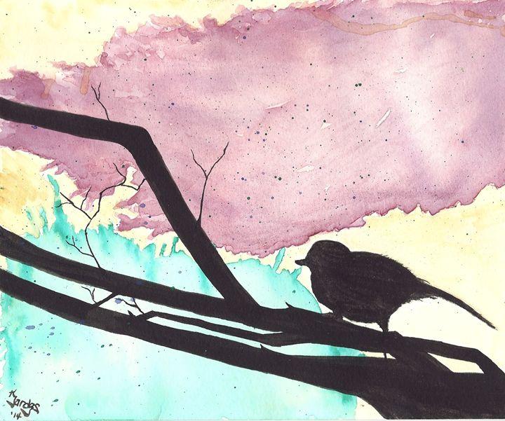 bird at sunset by Katie Jardas - Katie Jardas Watercolors