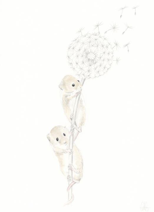 Two Mice Dandilion Dreaming - Quilla