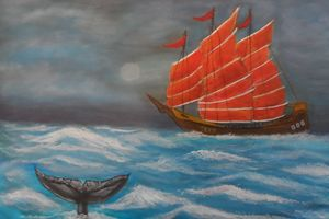Chinese Junk Boat and Whale Tail