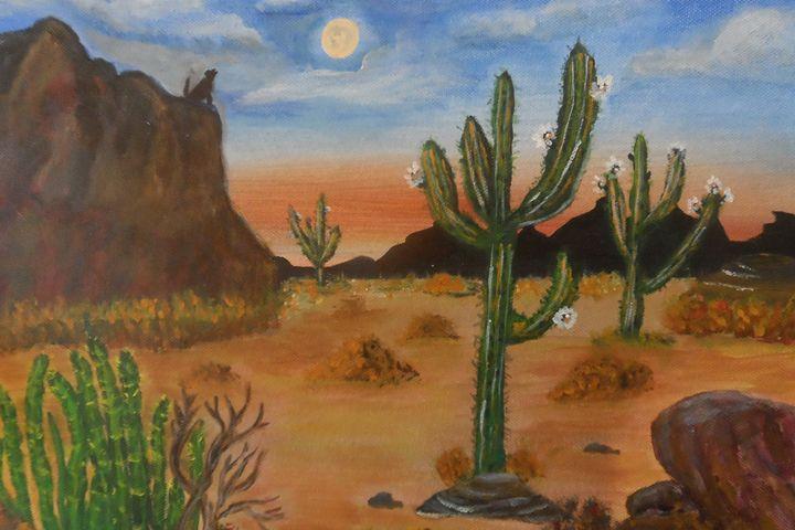 Desert Cactus Flowers under the moon - Ally Castaneda