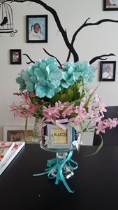 Laugh, Live, Love flower arrangement