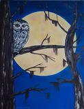 Original painting of owl in moonligh