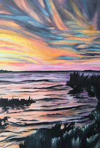 Acrylic Lake Sunset