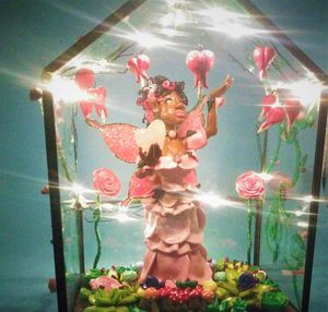 Pink Rose Fairy in Glass Green house