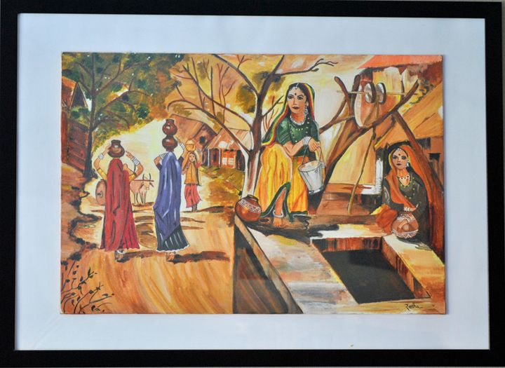 Indian Village Women - Acrylic/Oil  Canvas Paintings