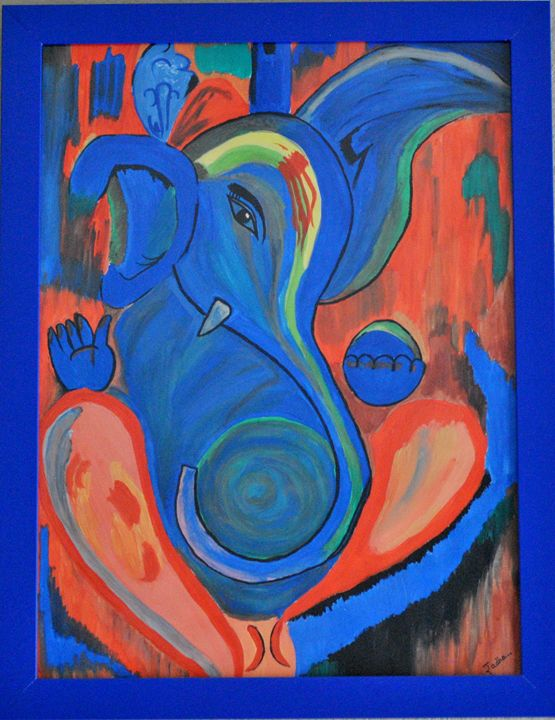 Lord Ganesha Water Color - Acrylic/Oil  Canvas Paintings