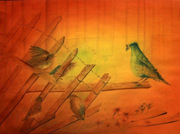 Mother Bird Feeding Baby Bird - Seema Maurya