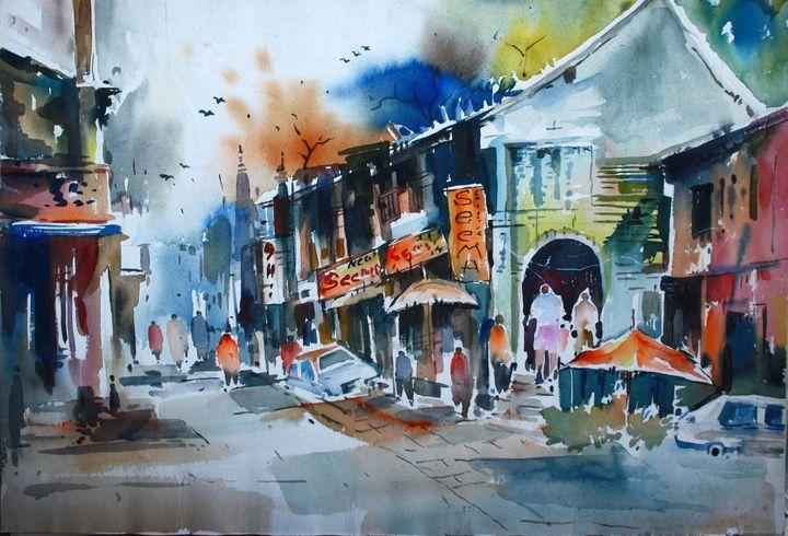 indian market scene painting - Seema Maurya