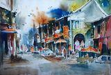 indian market scene painting