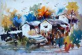 indian village scene painting
