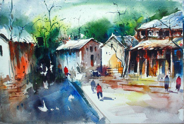 indian village scene painting - Seema Maurya