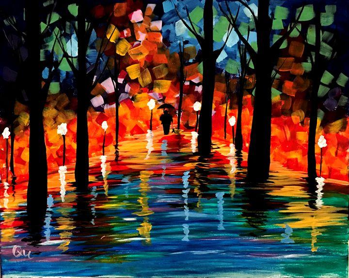 Vibrant trees Acrylic 16x12 Painting - Art by Qu