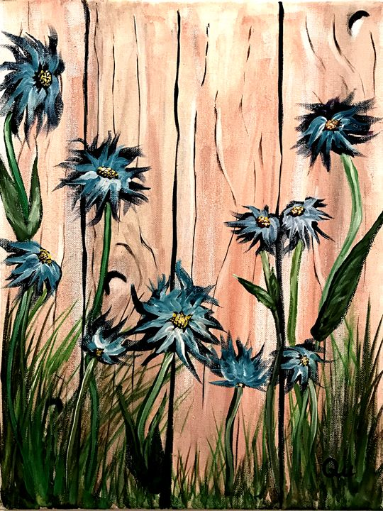 Lovely Daisies on a wall - Art by Qu