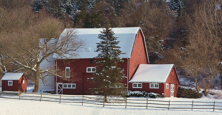 Red Barn in Winter - NatureBabe Photos