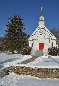 Quaint Country Church in Winter