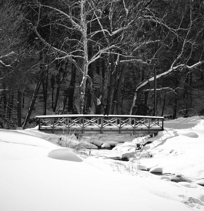 Kent Falls Footbridge in Winter - NatureBabe Photos