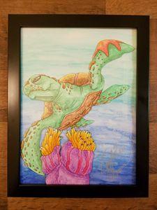 swimming sea turtle.