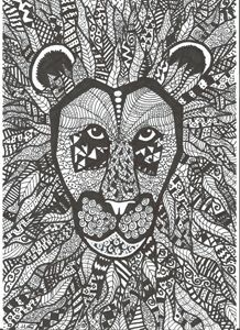 Black and white Aztec Lion
