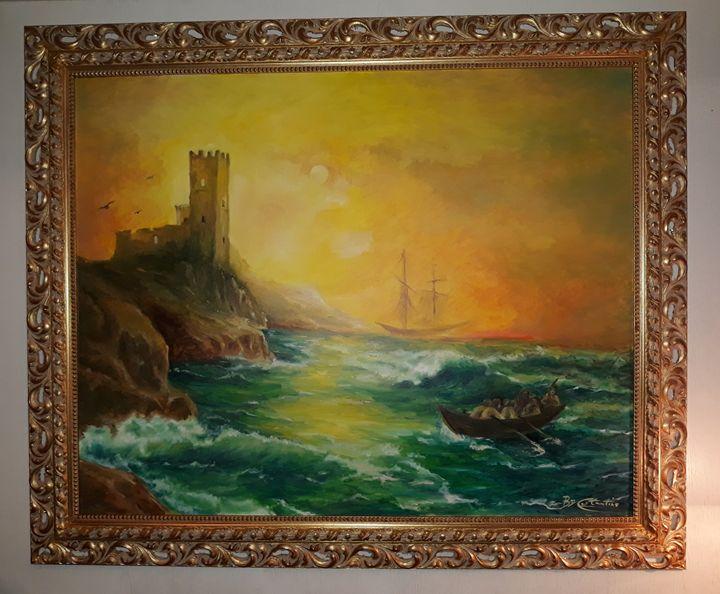 Stormy seas Italy- WIDE PAINTING - Giuseppe Costantino