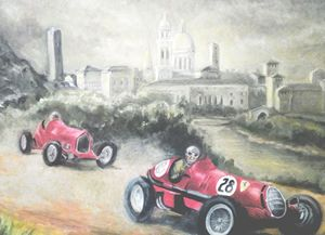 Nuvolari racing Alfa Romeo in Italy